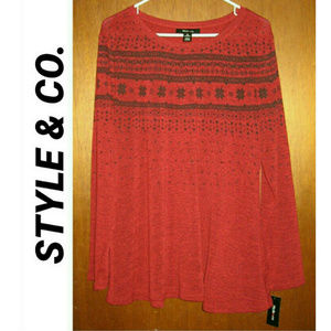 STYLE & CO Snowflake Sweater Top NWT XL